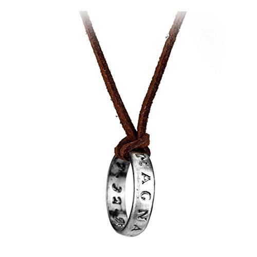 Hiinice Plata Plateado, Collar De Cuero Cable De Nathan Drake Collar De Cadena Larga De Los Hombres Prácticos Accesorios Herramientas