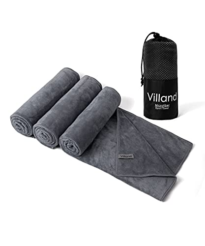 Villand Microfiber Sport Towels, Fast Drying Super Absorbent Multi-Purpose Gym Sweat Towel, 3 Pack 20 x 32 Inch with Carry Bag (Dark Gray)
