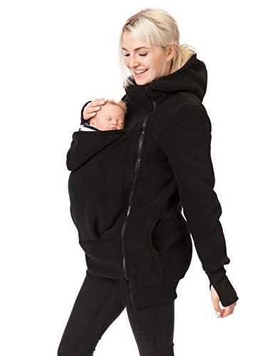 GoFuture 4in1 Babytragejacke für Mama,Papa und Baby Känguru Tragejacke aus Fleece mit Baby und Schwangerschaftseinsatz (L, Schwarz mit Marine-weißen Streifen)