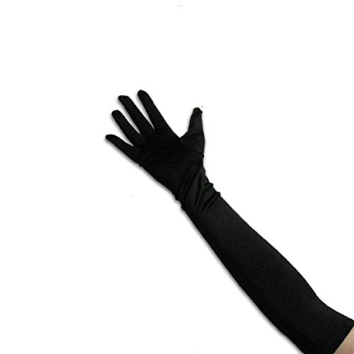 """GYBest Classic Adult Size 21"""" Long Party Bridal Dance Opera Length Satin Gloves (Black)"""
