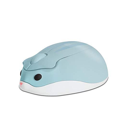 LLBH mulibaihuo 2.4G Souris Optique sans Fil Mignon Hamster Dessin animé Computer Smure Ergonomique Mini 3D PC Office MA Suite pour Kid Girl Cadeau avec pavé de semences (Color : Blue)