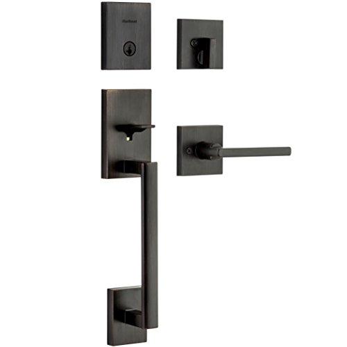 Kwikset 98180-001 San Clemente Single Cylinder Low Profile Handleset Front Door Lock with Halifax Lever featuring SmartKey Security in Venetian Bronze