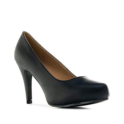 Andrés Machado - Elegante Pumps für Damen und Junge Frauen mit Absatz – AM293 – Hohe Schuhe/High-Heels mit Plateau und runder Spitze – Soft Schwarz, EU 34