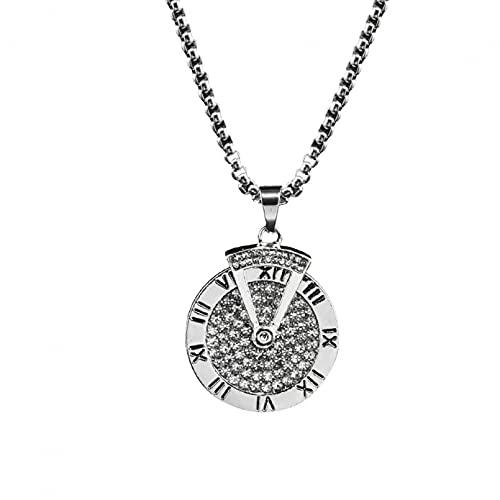 BAJIE Collar Mujer 2021Nueva Americana Unisex Collar con Colgante de Diamantes de Acero de Titanio Romano