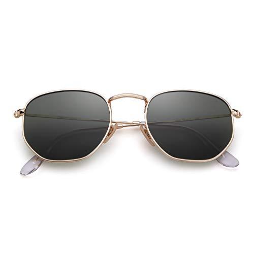ADEWU Polarisierte Quadratische Sonnenbrille mit Verspiegelter Linse und Sechseckigem Rahmen Unisex