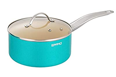 EPPMO 3.2 Qt Ceramic Nonstick Saucepan with lid,Blue Aluminum Pot with Cover,Compatible for Induction, Gas, Electric & Stovetops