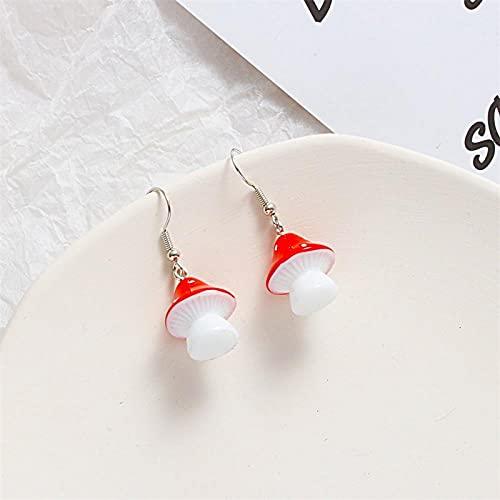 XAOQW 1 Par de Moda Femenina Fresco Hecho a Mano simulación de plástico Largo Pendientes Colgantes de Setas Accesorios de joyería Regalos-Estilo 2-Rojo
