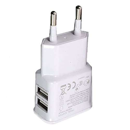 Gobutevphver 1A Adaptador de Corriente USB Dual portátil Cargador de teléfono móvil Enchufe eléctrico Adaptador de Cargador a Juego Inteligente de Viaje para teléfono Inteligente - Blanco UE