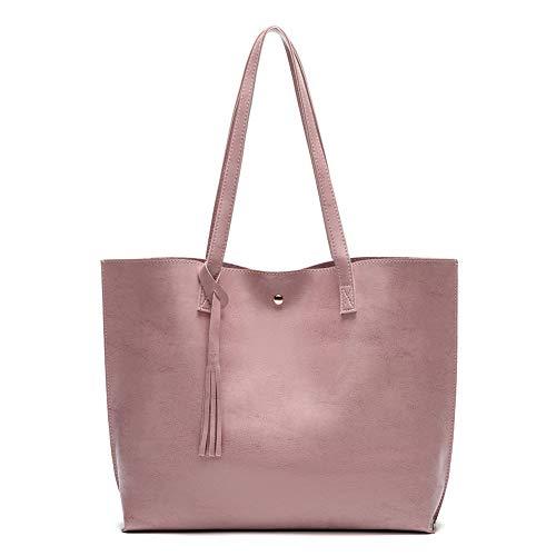 Women's Soft Faux Leather Tote Shoulder Bag from Dreubea, Big Capacity Tassel Handbag Pink New S