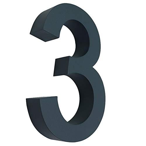 3 Hausnummer 3D anthrazit RAL7016 Edelstahl V2A rostfrei wetterfest Höhe 20cm inkl. Montagematerial erhältlich 0 1 2 3 4 5 6 7 8 9 a b c d
