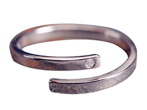 NicoWerk Damen Silberring Schlicht aus 925 Sterling Silber Schmal Dezent Glatt Zirkonia Verstellbar Offen SRI325