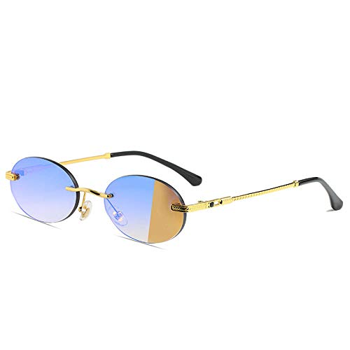 hqpaper Gafas de sol punk ovaladas con montura pequeña, gafas de sol sin montura de metal para mujer, gafas de sol con personalidad retro, montura dorada, película azul C58