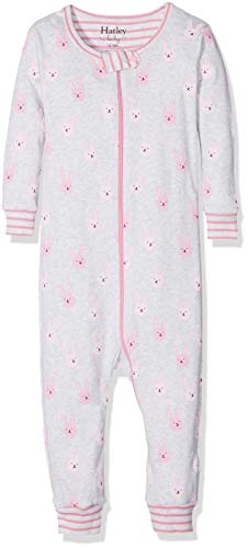 Hatley Organic Cotton Footed Sleepsuits Pyjama, Violet (Funny Bunnies), 6-9 Mois Bébé Fille