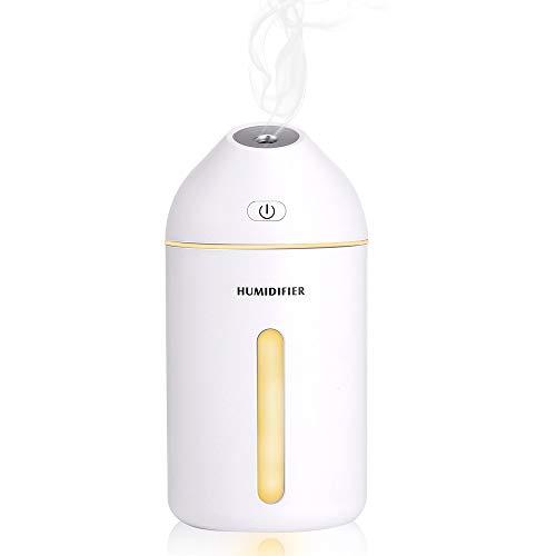Laelr humidificador de Vapor frío, USB Mini 320ml humidificadores de 35 Grados de inclinación Spray silencioso del Aire con, hasta 20 Horas de Uso Continuo para el Dormitorio, Coches, Yoga, Oficina