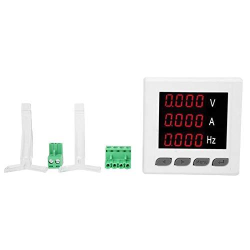 Medidor de frecuencia, A V HZ Pantalla digital Voltímetro Amperímetro de frecuencia, Medidor Amperímetro de medición monofásico duradero 72-UIF para monitor de uso de electricidad