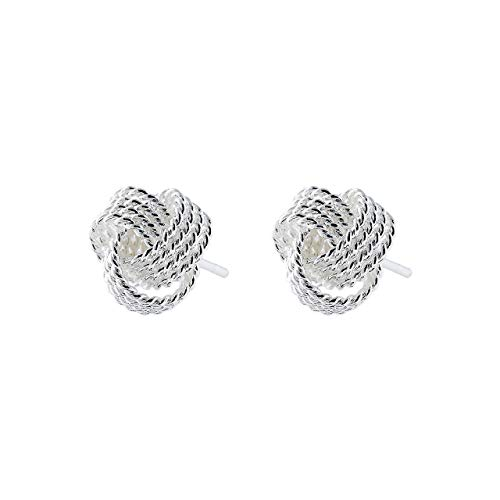Selia - Orecchini a forma di nodo dell'amore, in lana, idea regalo, effetto minimalista in argento 925