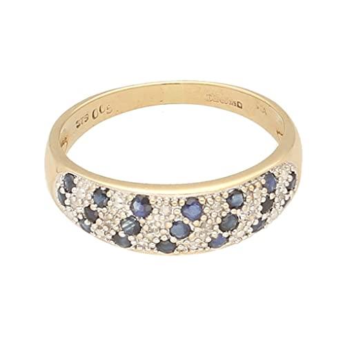 Anillo de oro amarillo de 9 quilates con zafiro y diamante (tamaño Q 1/2) de 6 mm de ancho, anillo de lujo para mujer
