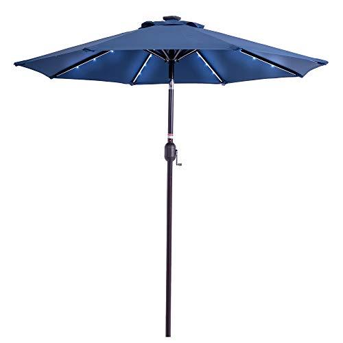 Sundale Outdoor 7 ft Solar Powered 24 LED Lighted Patio Umbrella Table Market Umbrella with Crank & Push Button Tilt for Garden, Deck, Backyard, Pool, 8 Steel Ribs, Polyester Canopy (Navy Blue)