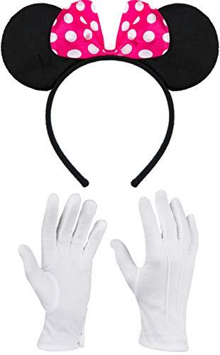 Balinco Haarreifen in schwarz mit Maus Ohren Mouse mit Schleife in pink mit weißen Punkten inklusive weiße Handschuhe für Kinder & Erwachsene