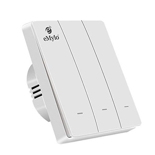 eMylo Interruptor de luz de pared inteligente Interruptor basculante Funciona con Zigbee Central Hub, control de voz compatible con Alexa / Google Home No s requiere cable neutro (3 botón-blanco)