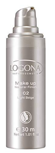 LOGONA Naturkosmetik Make-up Natural Finish No. 02 Light Beige, Heller Hautton, Foundation mit Anti-Aging-Pflege, leichte bis mittlere Deckkraft, Bio-Extrake, Vegan, 30 ml