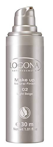LOGONA Naturkosmetik Make-up Natural Finish No. 02 Light Beige, Heller Hautton, Foundation mit Anti-Aging-Pflege, leichte bis mittlere Deckkraft, Bio-Extrake, Vegan, 30 ml