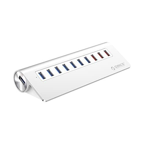 ORICO Aluminium 10 Port Super Speed USB 3.0 Hub mit 7 USB3.0 Ports, 3 Ladeports, 36W (12V3A) Netzteil und 3.3Ft