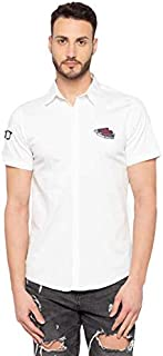 Nick&Jess Mens Short Sleeve Patch Cotton Shirt White