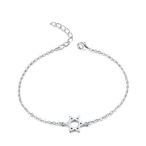 Pulsera de plata de ley con diseño minimalista de estrella judía de David