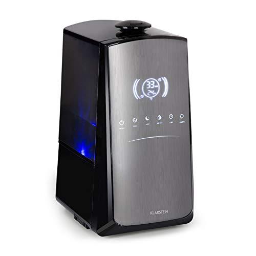 KLARSTEIN VapoAir Opal Smart - Humidificador de Aire, Potencia de 110 W, Capacidad Tanque de Agua 5 L, Control por App, Pantalla LED, 7 Niveles de pulverización, Programable, ionizador, Negro