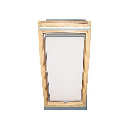 Rollo für VELUX Dachfenster THERMO Alu-Rückseite Dachfensterrollo für TYP GGL/GPL/GHL - 104 - Farbe Weiß - mit Haltekrallen