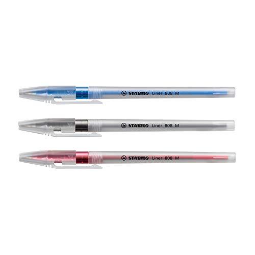 Caneta Esferográfica Stabilo Liner 808, Blister com 3 unidades (Azul, Preta e Vermelha)