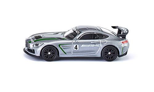 Siku 1529, Mercedes-AMG GT4 Sportwagen, Metall/Kunststoff, Silber, Großer Heckflügel, Spielzeugauto für Kinder