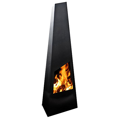 Chingo Steel Chiminea Garden Fire Pit 62x42x190 cm. black