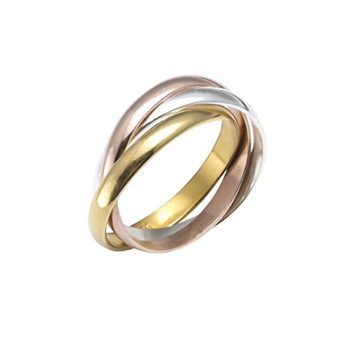 Silverly Women's Rose Yellow Gold Plated .925 Sterling Silver Russian Style Triple Polished Ring
