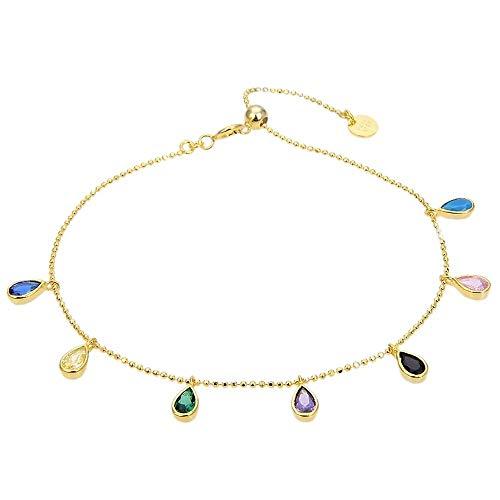 Pulsera Luxenter plata Ley 925m baño oro colección Yente gotas lágrimas circonitas multicolor