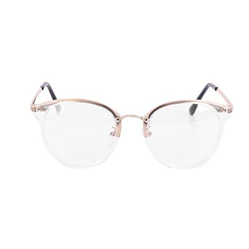Lesebrille Deko Modern Brille Damen Halbbrille Herren Dekobrille Leicht Nerdbrille Ohne Stärke Vintage Klassisch Brillenfassung Metall Farbig Rahmenbrille Accessoires Hornbrille Unisex Streberbrille