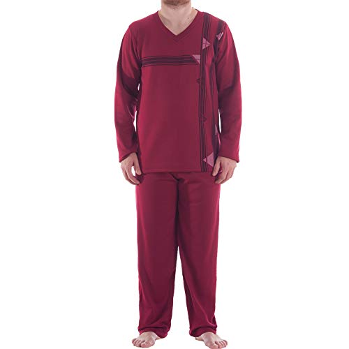 LUCKY Thermo Pyjama Herren V-Ausschnitt Schlafanzug Warm Winter, Farbe:Bordeaux,...