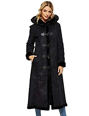 Women's Faux Suede Shearling Maxi Walking Coat with Hooded (Large, Black #2)