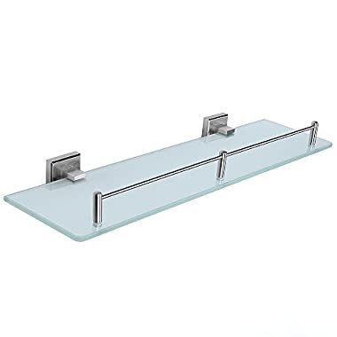 HOMEIDEAS Bathroom Frosted Glass Shelf 19.7-Inch Stainless Steel Lavatory Tempered Glass Wall Shelf,Brushed Nickel