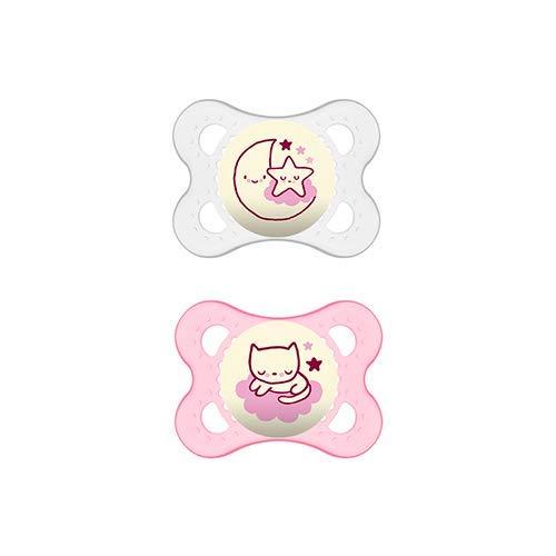 MAM Chupete Original Night S219 - Chupete con Tetina de Látex, para Bebés de 0+ meses, brilla en la oscuridad, Rosa (2 unidades), con caja auto Esterilizadora, Versión Española