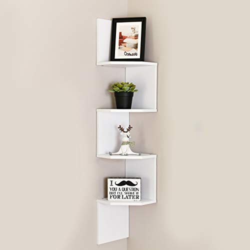 WELLAND Zig - Zag Floating Corner Shelves, 4-Tier Wall Mounted Storage Shelf with White Finish for Bedroom, Living Room, Bathroom, Display Shelf for Small Plant, Photo Frame, Toys and More Connecticut