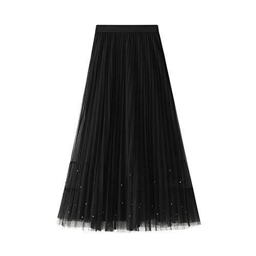 Elegantes Faldas largas de Tul con Cuentas para Las Mujeres Primavera Verano Mujeres Damas Negras Rosa Gris pleised Falda Plisada Black One Size