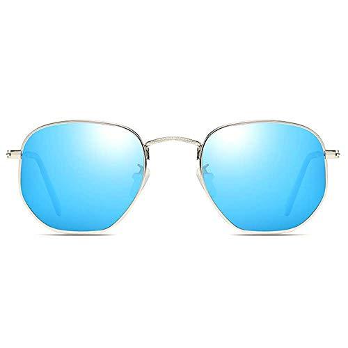WWKDM1 Gafas de Sol Nuevo Material de Metal Colorido Gafas de Sol UV400 Lente Plateada/Azul Marco Plateado Hombres y Mujeres con la Misma conducción Gafas de Sol de conducción
