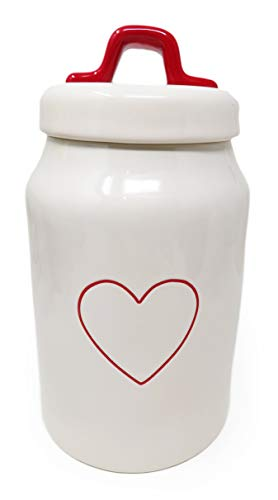 Rae Dunn By Magenta Red Heart Outline Ceramic LL Medium Size 8.5 Inch Canister With Red Lid Handle 2020 Limited Edition