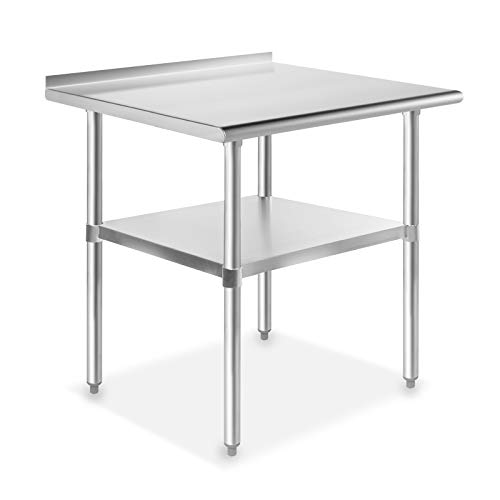 GRIDMANN NSF Stainless Steel Commercial Kitchen Prep & Work Table w/ Backsplash - 30 in. x 24 in.