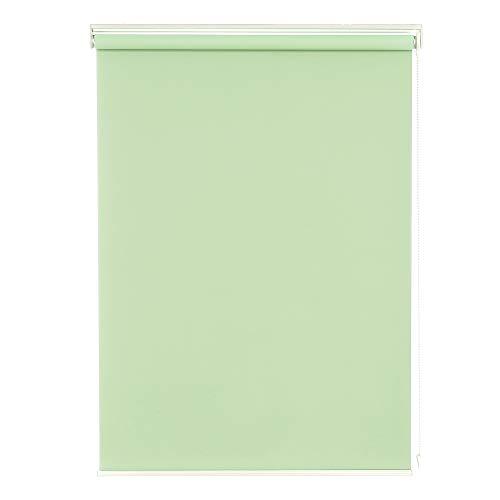 Deconovo ロールスクリーン 1級遮光 断熱 遮熱 防音 UVカット 13サイズ 6カラー 幅135cm 丈220cm ライトグリーン