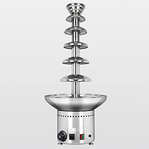 DunShan Máquina de Fuente de Chocolate eléctrica de Acero Inoxidable de 5 Niveles Choco Melts Dipping Warmer Machine, para Fiestas, Casarse,