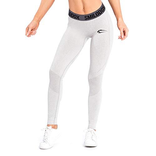 SMILODOX Sport Leggings Damen 'Slide'   Seamless - Figurformende Leggings für Sport Fitness Gym Yoga & Freizeit   Sporthose - Workout Trainingshose - Tights Laufhose, Farbe:Grau, Größe:L