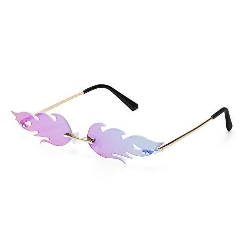 Tianayer Frauen Feuer Flamme Sonnenbrillen Randlos Welle Sommer Brillen Neuheit-Augen-Gläser (lila)
